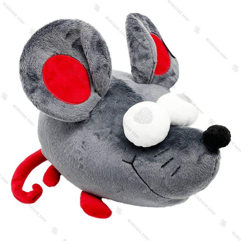 عروسک موش چشم قلبی بزرگ طوسی