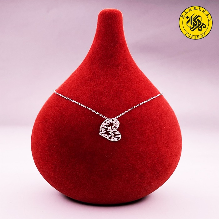گردنبند نقره زنانه طرح قلب با نگین درشت ۲.۳۹ گرمی