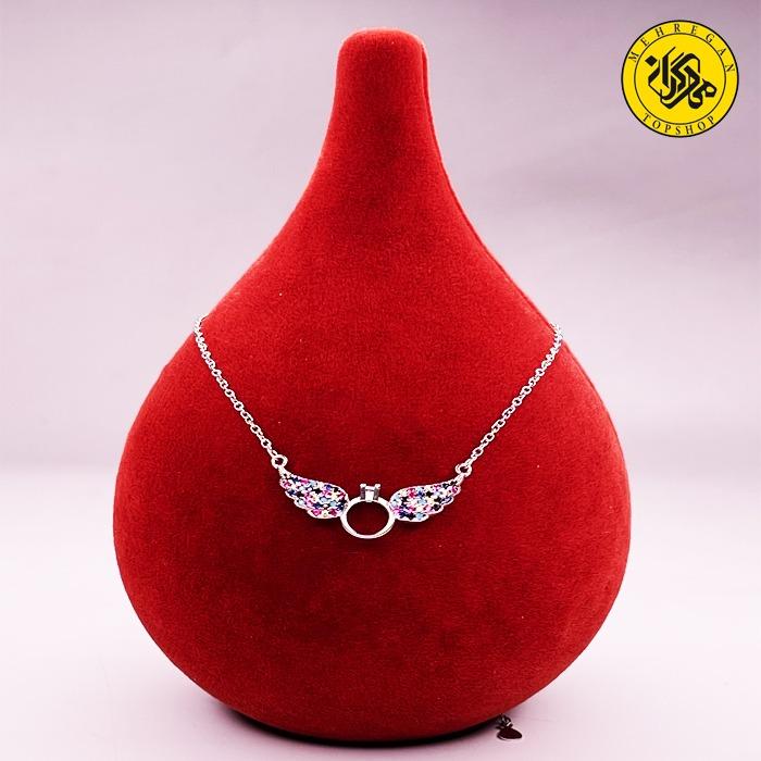 گردنبند نقره زنانه طرح حلقه و بال ۵.۲۹ گرمی