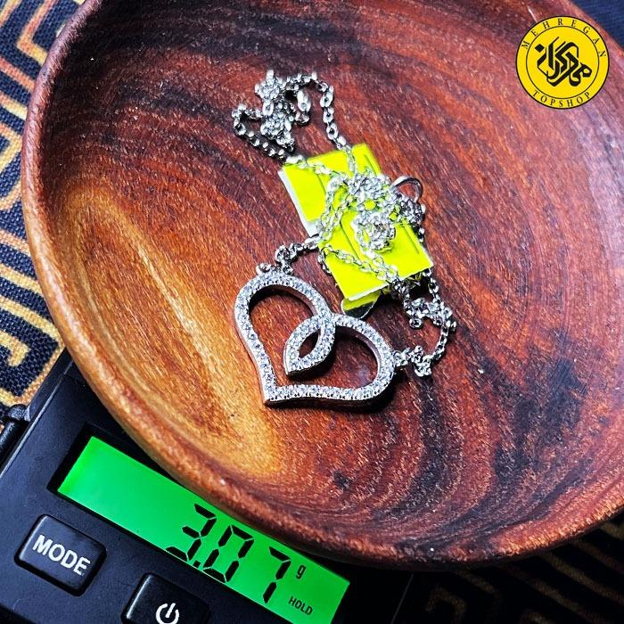 گردنبند نقره زنانه طرح قلب ۳.۰۷ گرمی