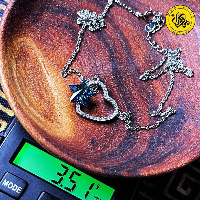 گردنبند نقره زنانه طرح قلب و ستاره ۳.۵۱ گرمی