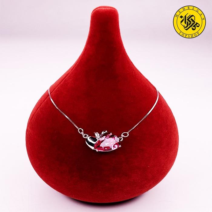 گردنبند نقره زنانه طرح سیب و سنگ اشکی ۳.۸۸ گرمی بنفش