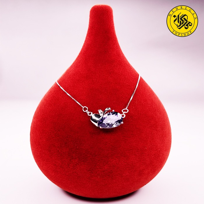 گردنبند نقره زنانه طرح سیب و سنگ اشکی ۳.۶۷ گرمی سرمه ای
