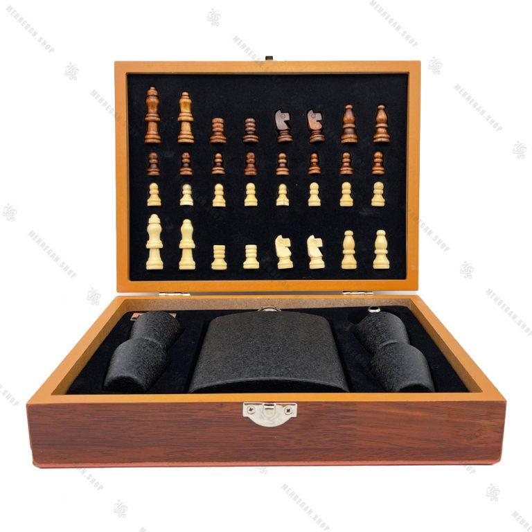 ست شطرنج و فلاسک جیبی طرح آسفالتی NBC