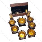 مجموعه ظروف هفت سین چوبی 10 پارچه مدل سینی گرد
