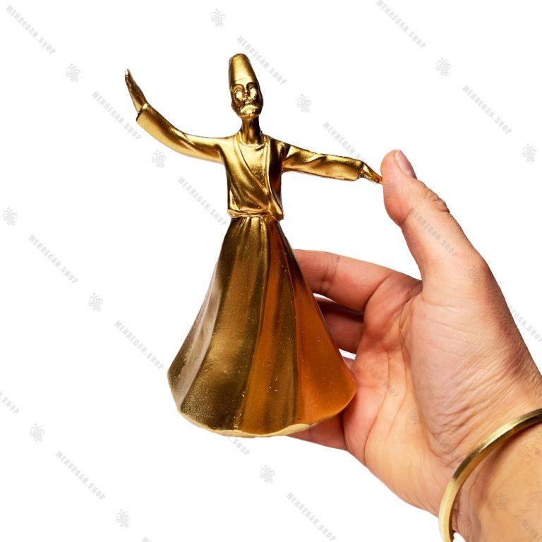 مجسمه رزینی دکوری طرح رقص سماع مدل صوفی طلایی