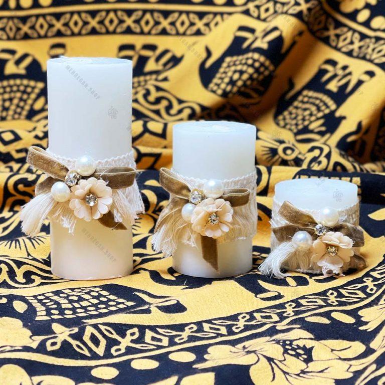 شمع استوانه ای تزئین شده ۳ عددی مدل گل مروارید