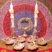 مجموعه ظروف هفت سین 9 پارچه طرح گل و پرنده نقره ای