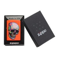 فندک زیپو Zippo اصل مدل Skull Neon Orange کد 29402