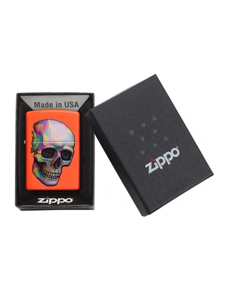 فندک زیپو Zippo اصل مدل Skull Neon Orange کد ۲۹۴۰۲