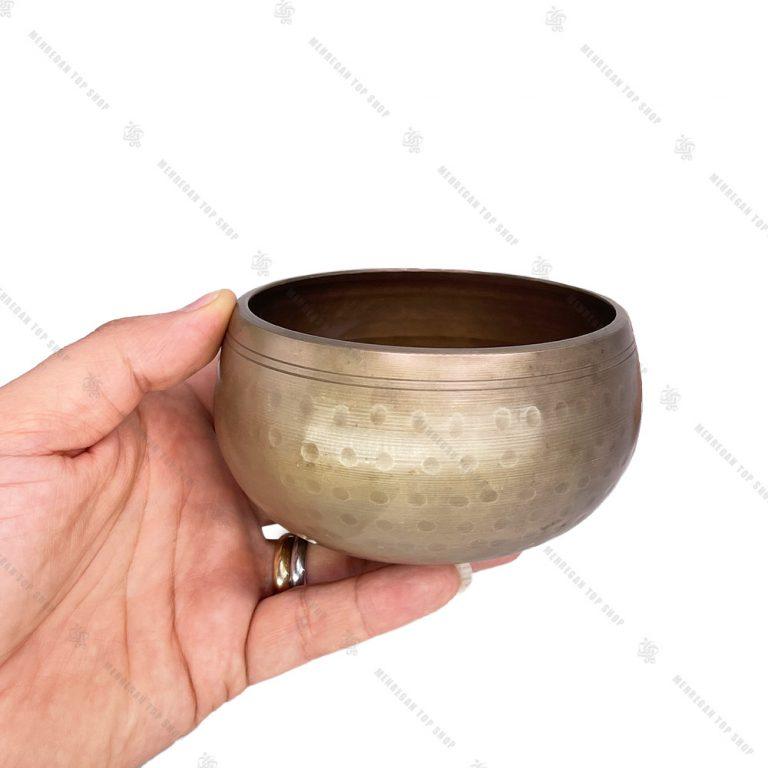 کاسه تبتی طلایی خاکی سایز ۲ چکش خورده